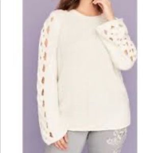 Adorable and comfy braided-sleeve sweater!